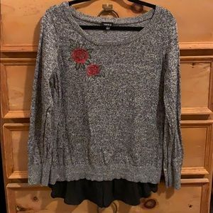 Torrid Sweater w Faux Layer & Embroidered Rose